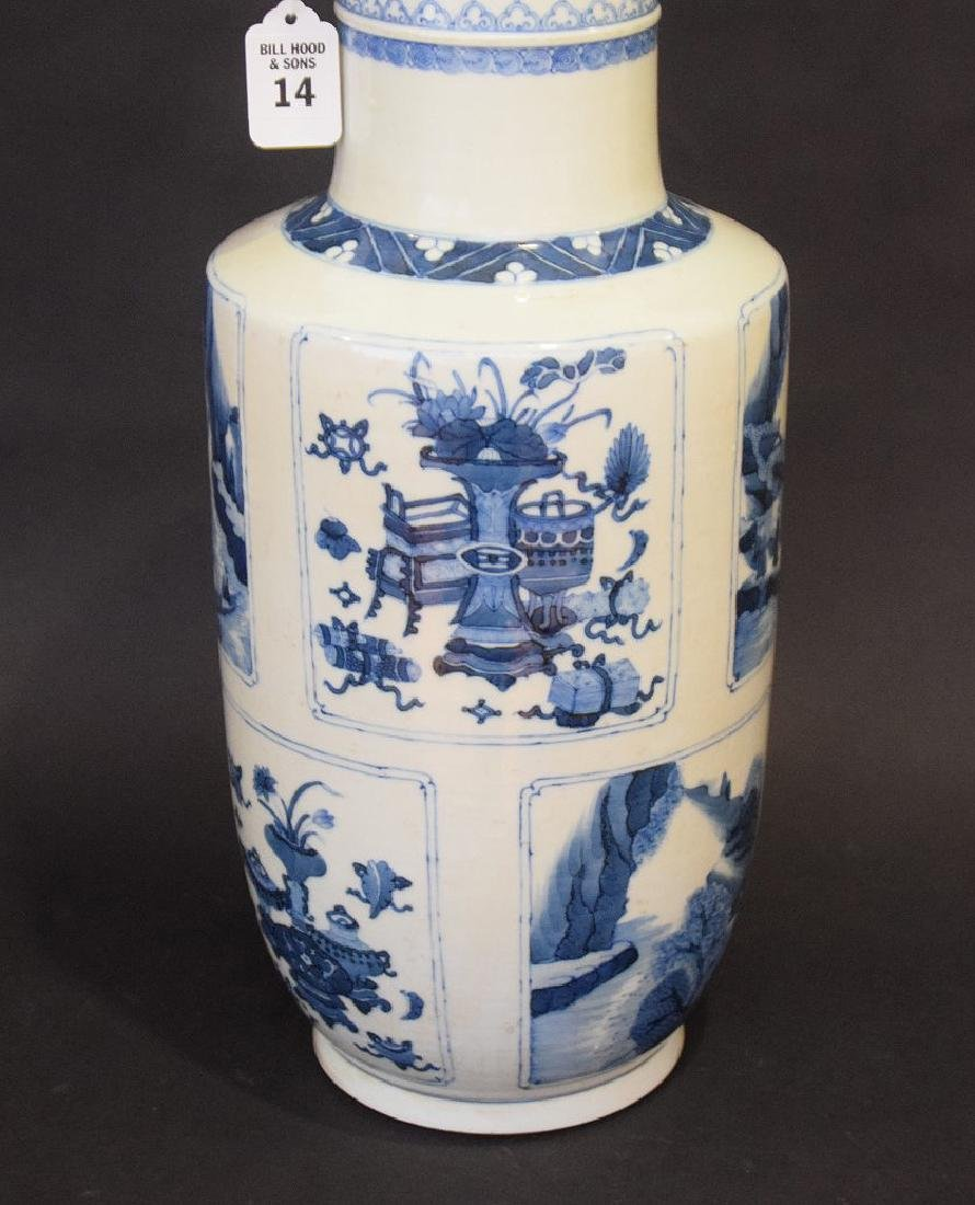CHINESE PORCELAIN VASE with blue decorated panels on a - 2