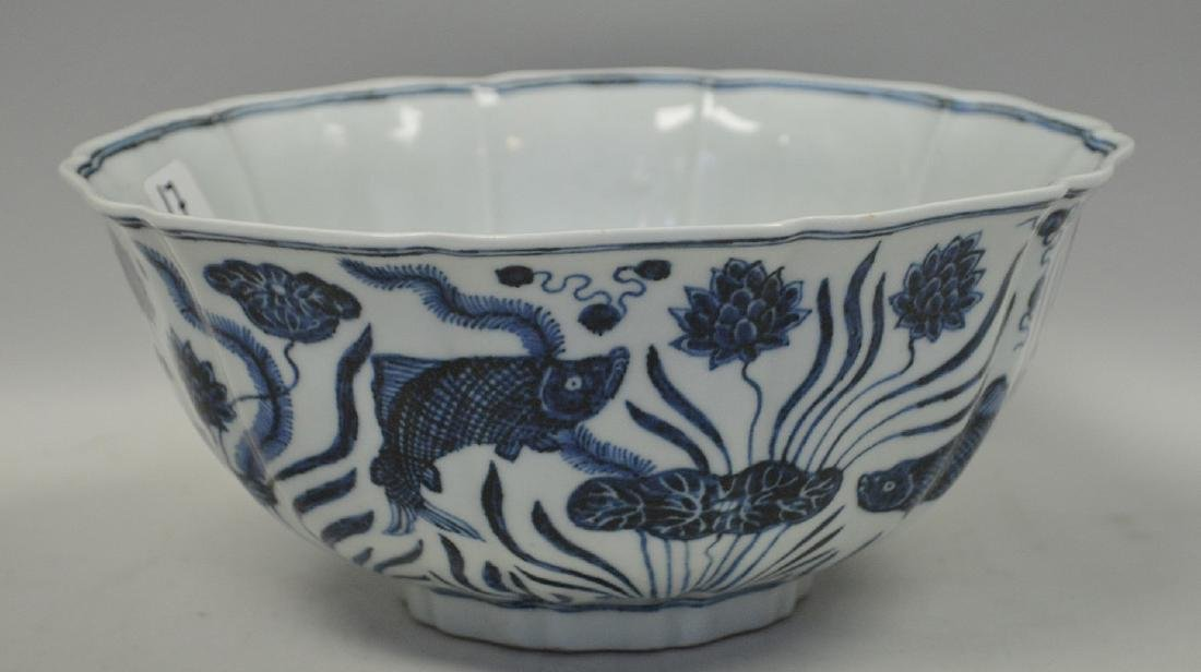 CHINESE BLUE & WHITE PORCELAIN BOWL.  The exterior with