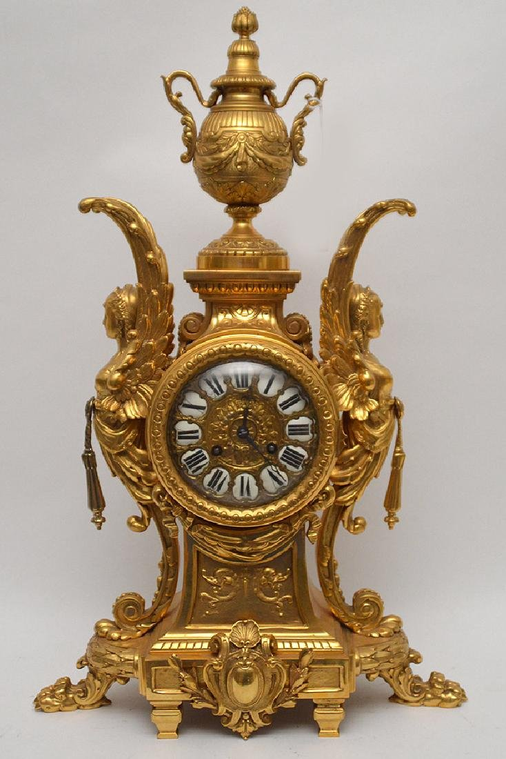 19th Century Gilt Bronze Figural Angel Clock with time
