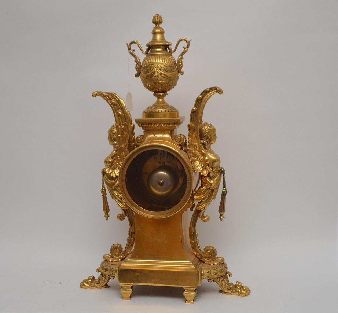 19th Century Gilt Bronze Figural Angel Clock with time - 7