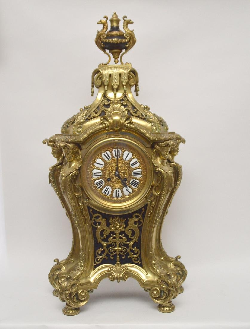 Large Gilt Bronze Clock with time & strike movement.