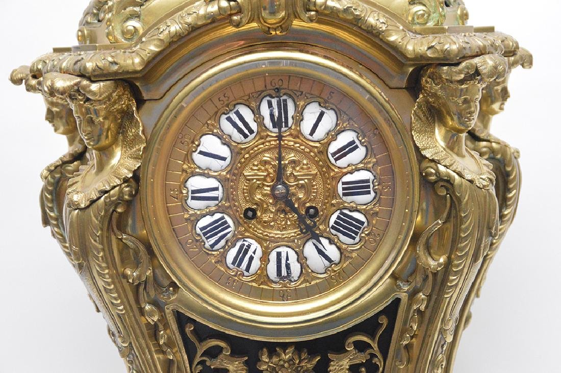 Large Gilt Bronze Clock with time & strike movement. - 4