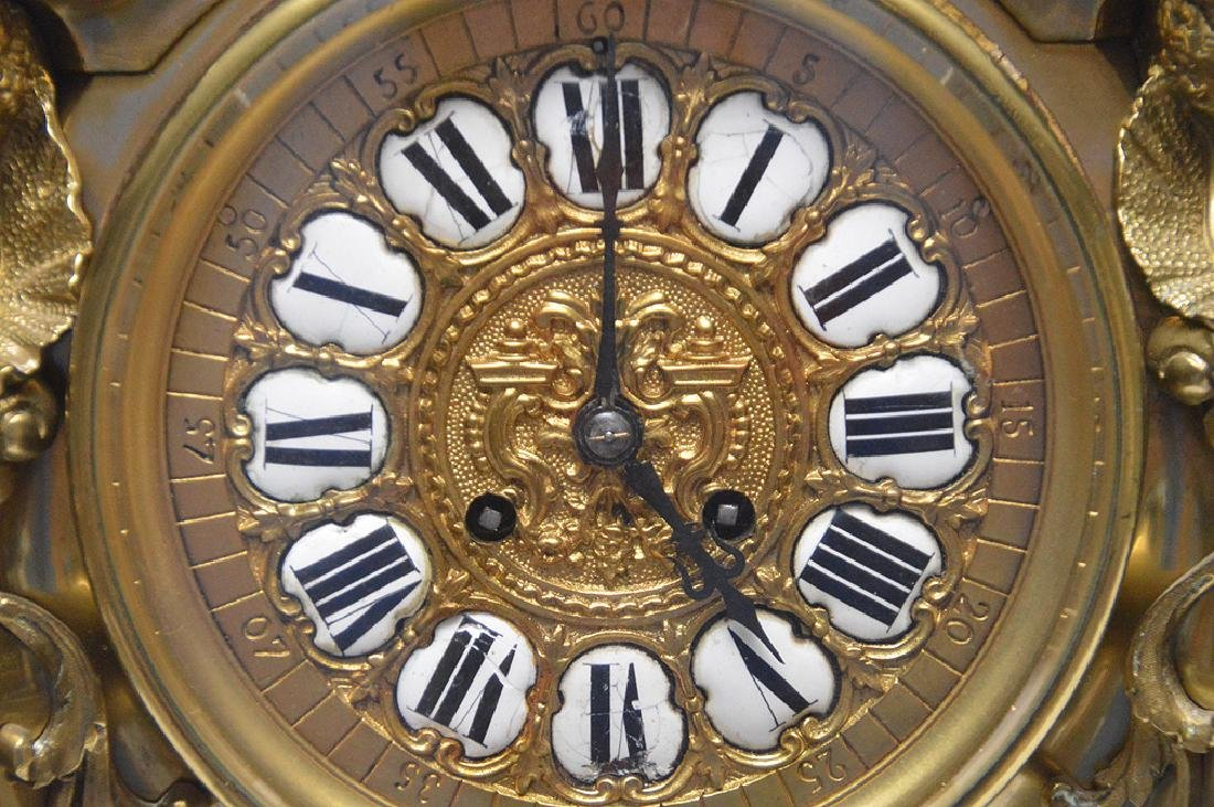 Large Gilt Bronze Clock with time & strike movement. - 5