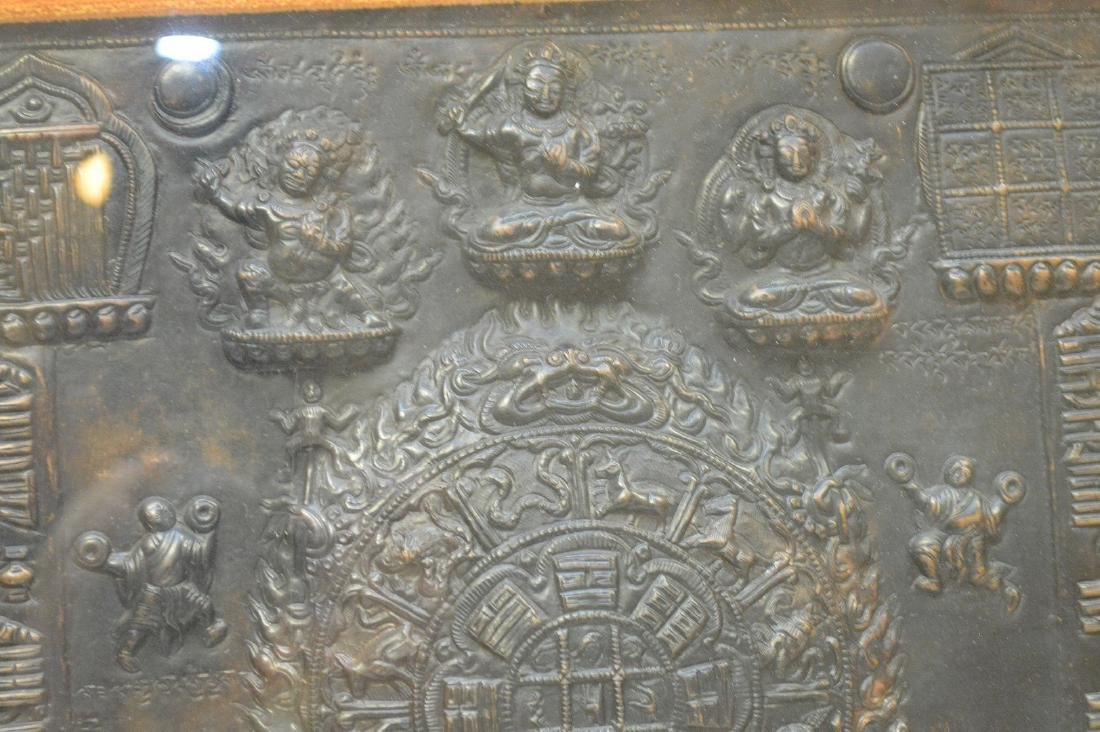 Early Tibetan Patinated Metal Plaque in shadowbox - 3