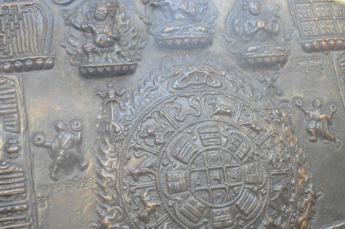 Early Tibetan Patinated Metal Plaque in shadowbox - 4