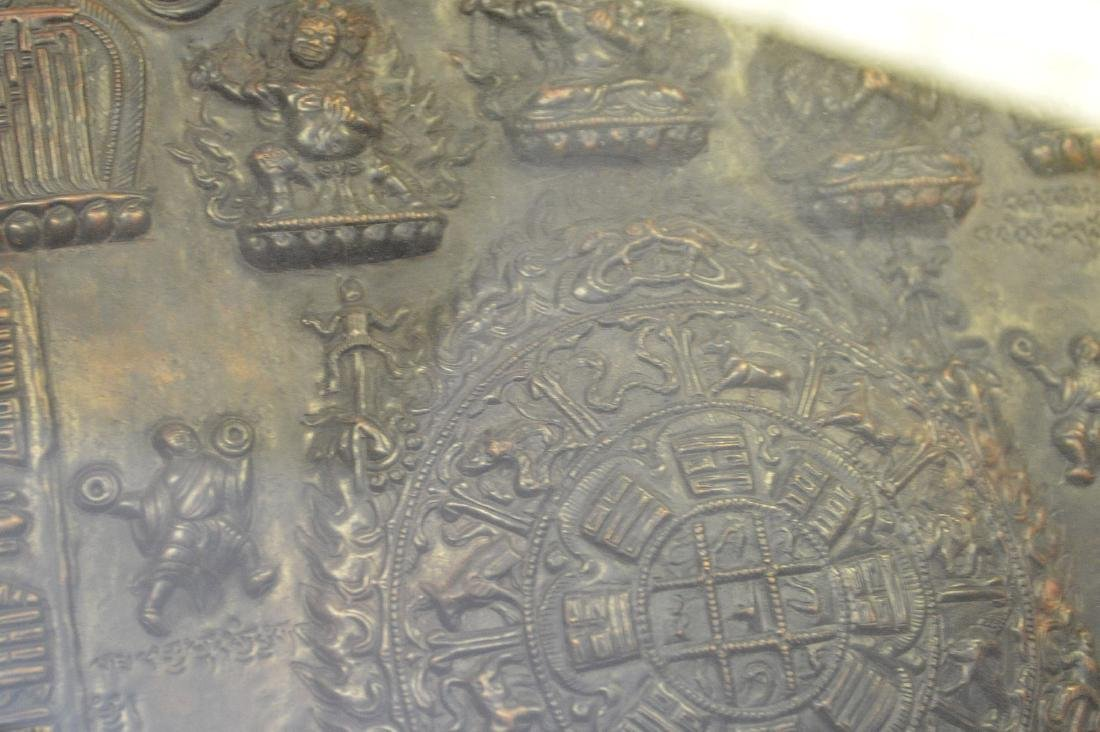 Early Tibetan Patinated Metal Plaque in shadowbox - 5