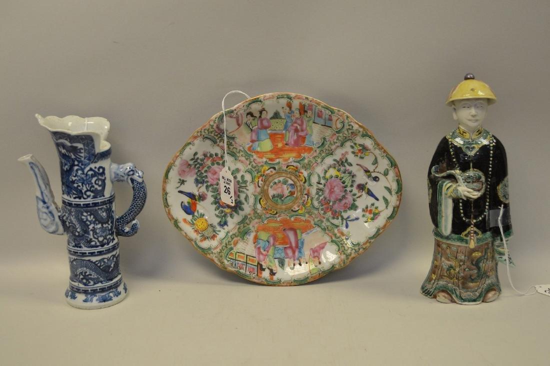 3 PIECES CHINESE PORCELAIN.  Rose Medallion Porcelain
