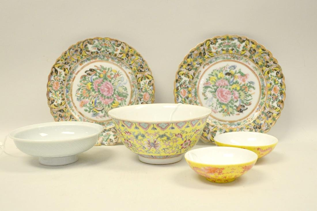 6 CHINESE PORCELAIN ARTICLES.  Famille Rose Bowl Ht. 2