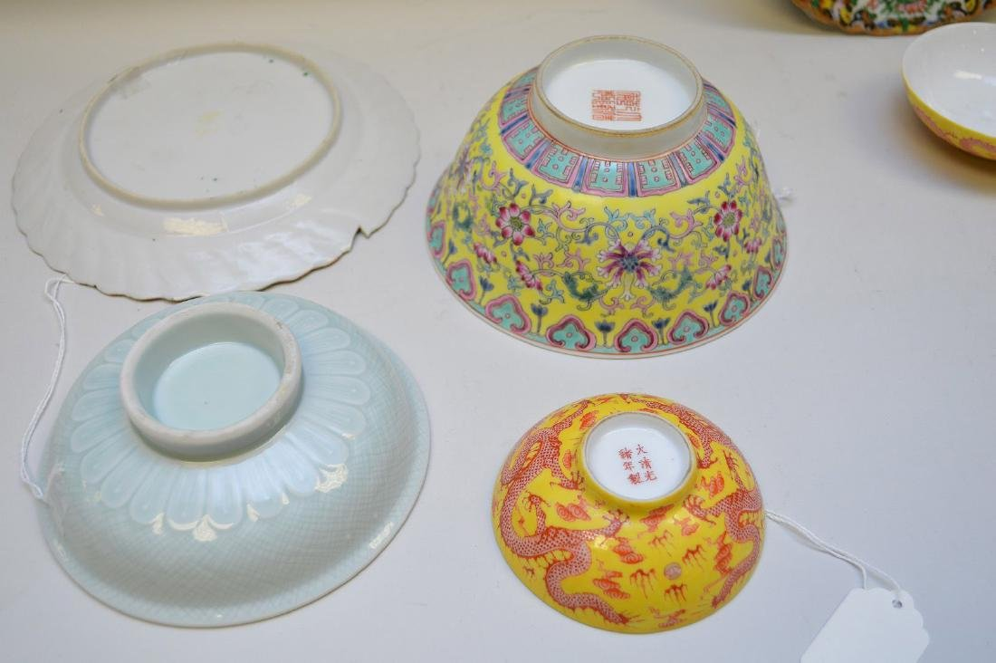 6 CHINESE PORCELAIN ARTICLES.  Famille Rose Bowl Ht. 2 - 3