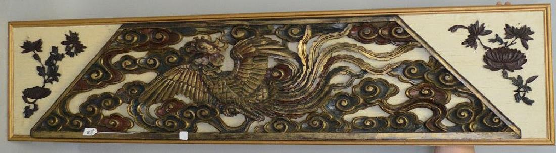 """Large Antique Chinese Over Door Carving.  16"""" x 68""""."""