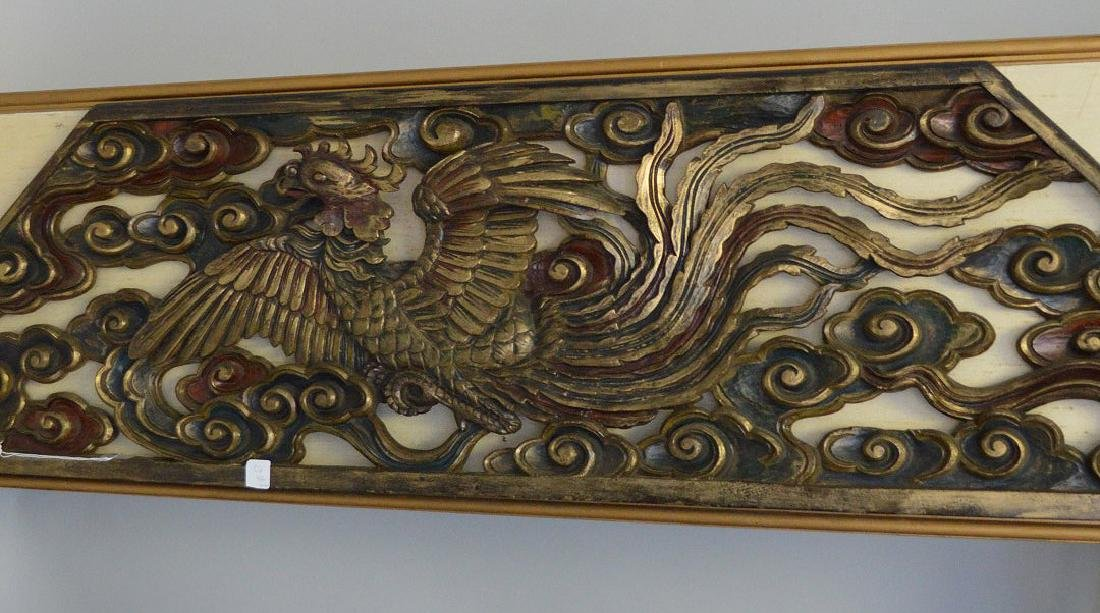 """Large Antique Chinese Over Door Carving.  16"""" x 68"""". - 2"""