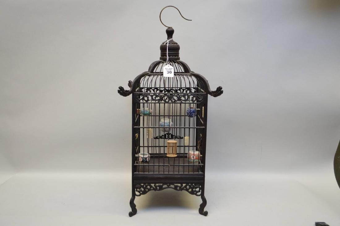 CHINESE WOOD BIRDCAGE with applied porcelain and