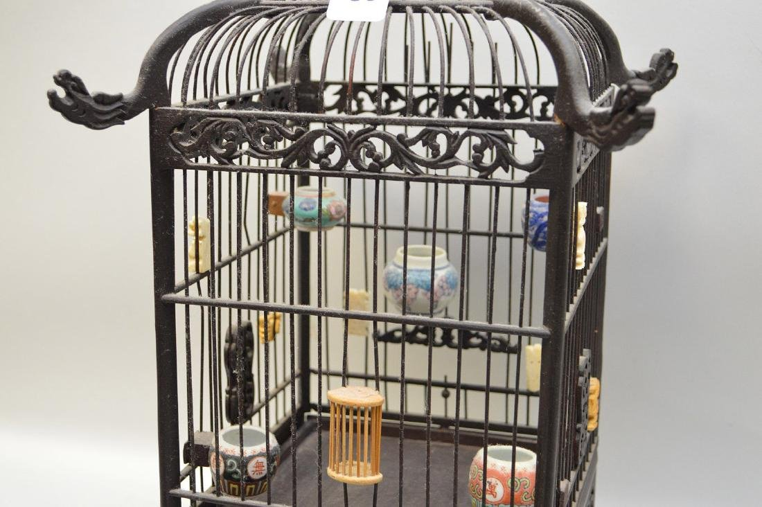 CHINESE WOOD BIRDCAGE with applied porcelain and - 2