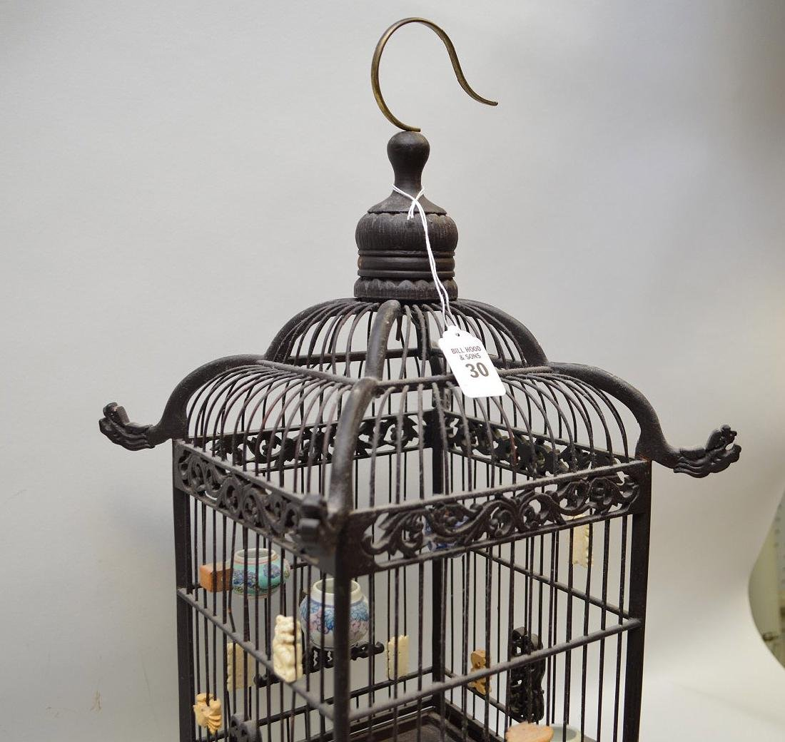 CHINESE WOOD BIRDCAGE with applied porcelain and - 4