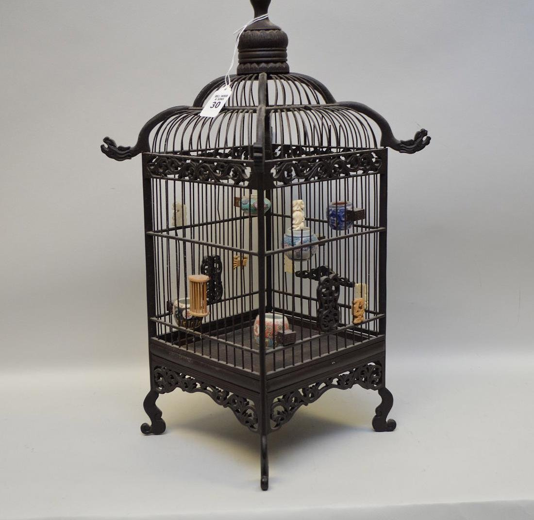 CHINESE WOOD BIRDCAGE with applied porcelain and - 5