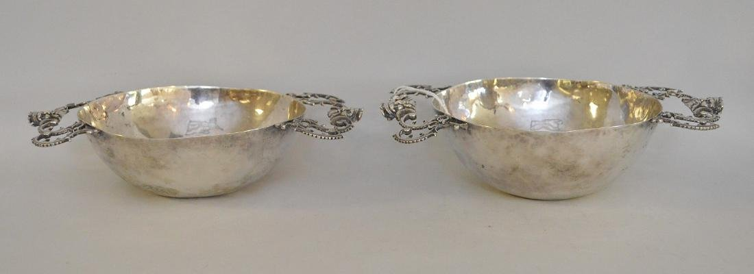 Pair handmade silver bowls with handles and