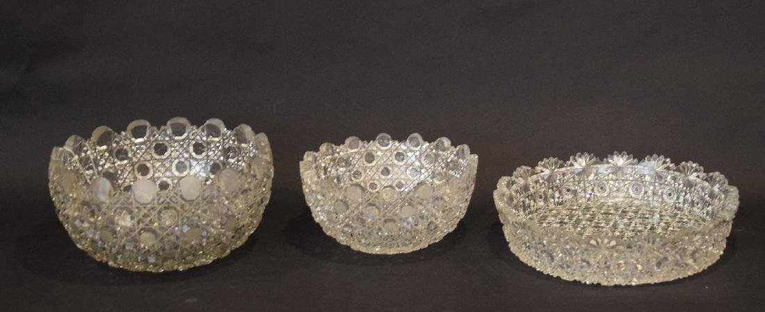 3 cut glass bowls, 2 graduated daisy & button pattern