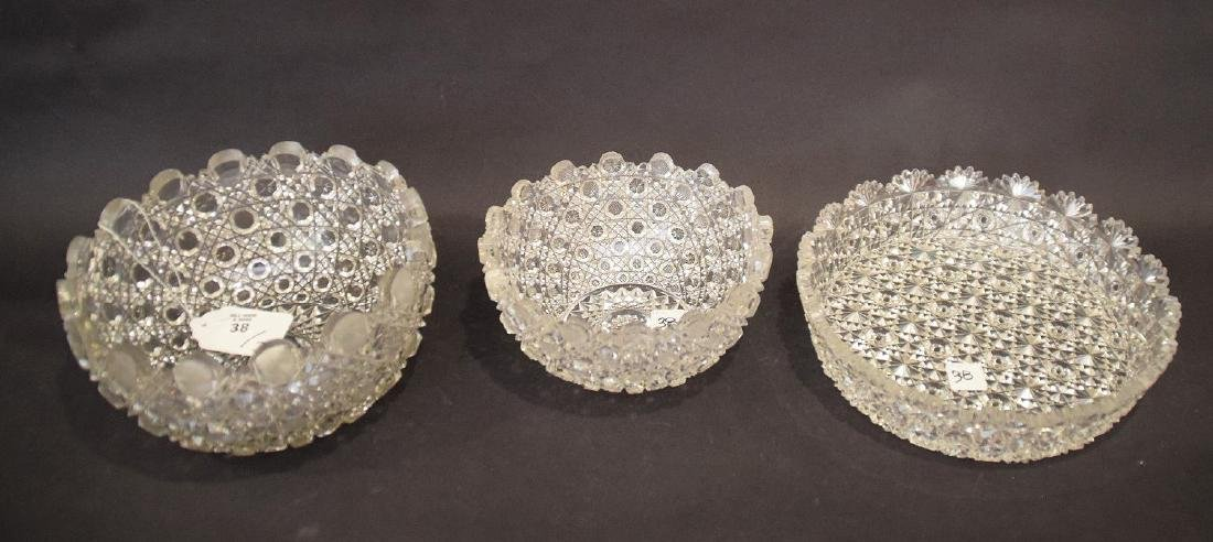 3 cut glass bowls, 2 graduated daisy & button pattern - 2