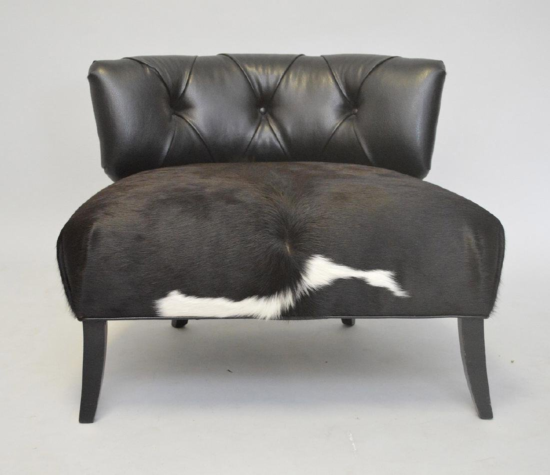 Leather & cowhide large chair, tufted back and cowhide