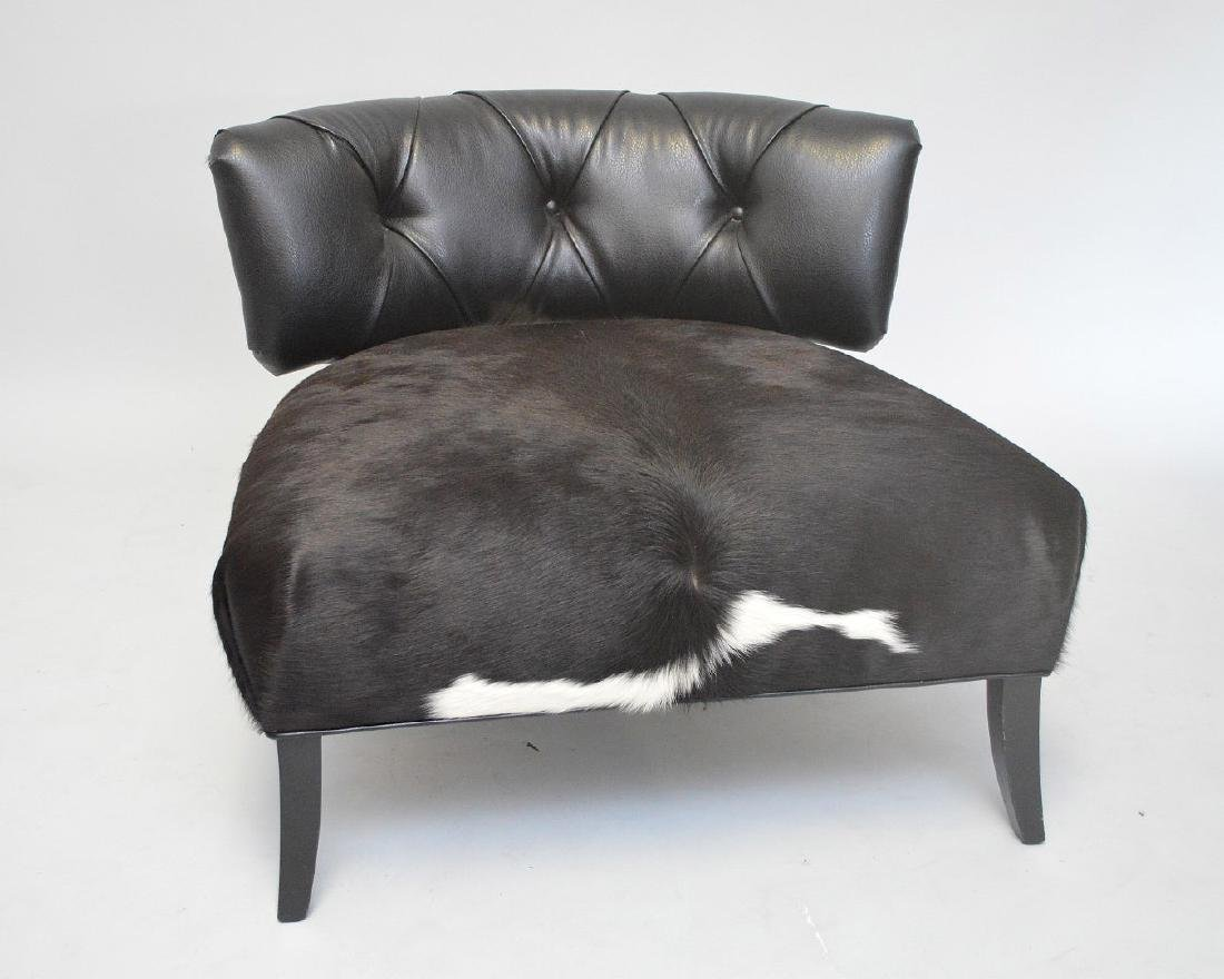 Leather & cowhide large chair, tufted back and cowhide - 2