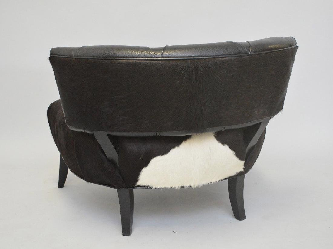 Leather & cowhide large chair, tufted back and cowhide - 3