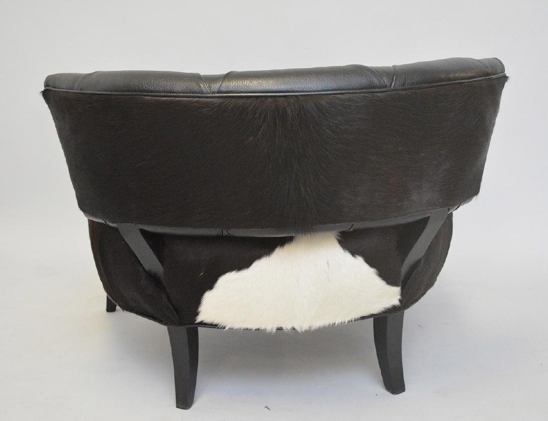 Leather & cowhide large chair, tufted back and cowhide - 4