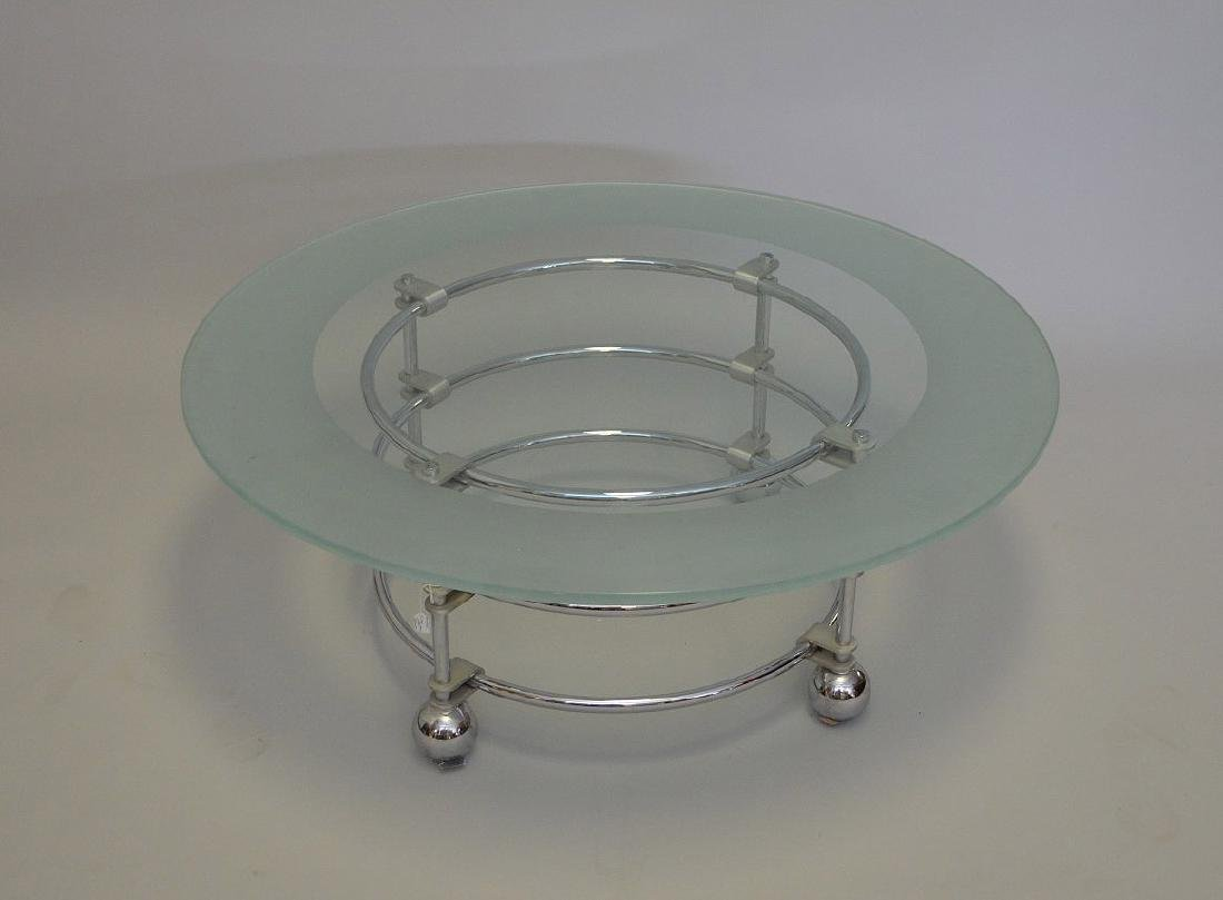 "Chrome & glass coffee table, ""Jay Spectre"", 16""h x 42""d"