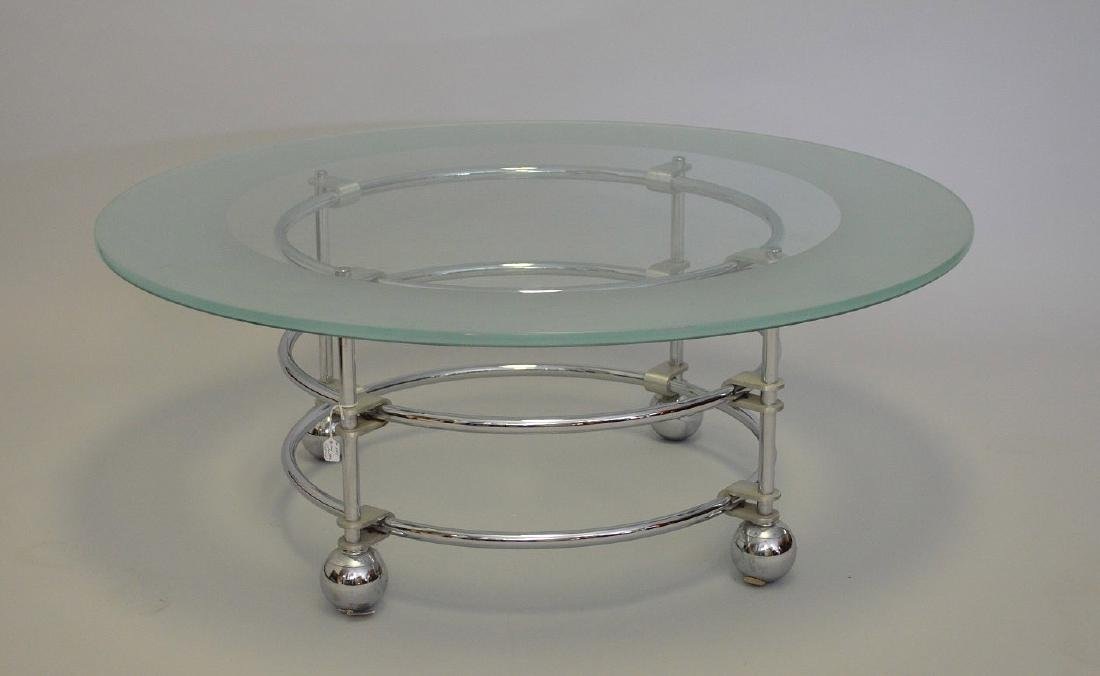 "Chrome & glass coffee table, ""Jay Spectre"", 16""h x 42""d - 2"