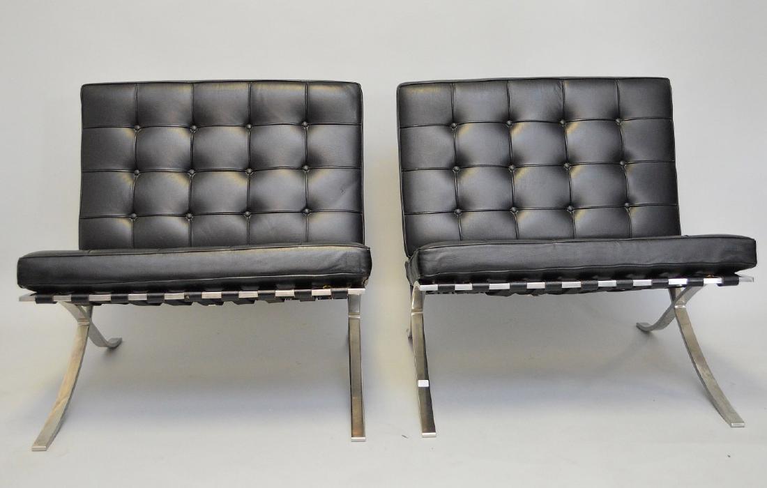 Pr. Barcelona Chairs (2) Black leather, chrome X-form - 2
