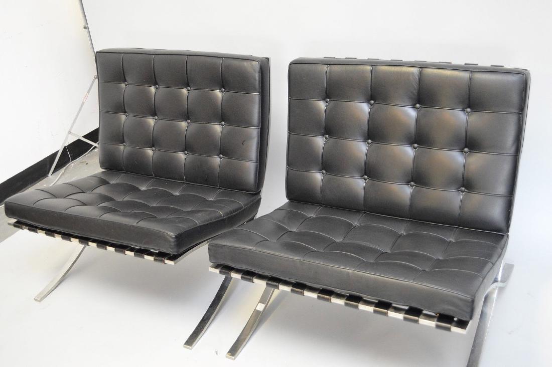 Pr. Barcelona Chairs (2) Black leather, chrome X-form - 3
