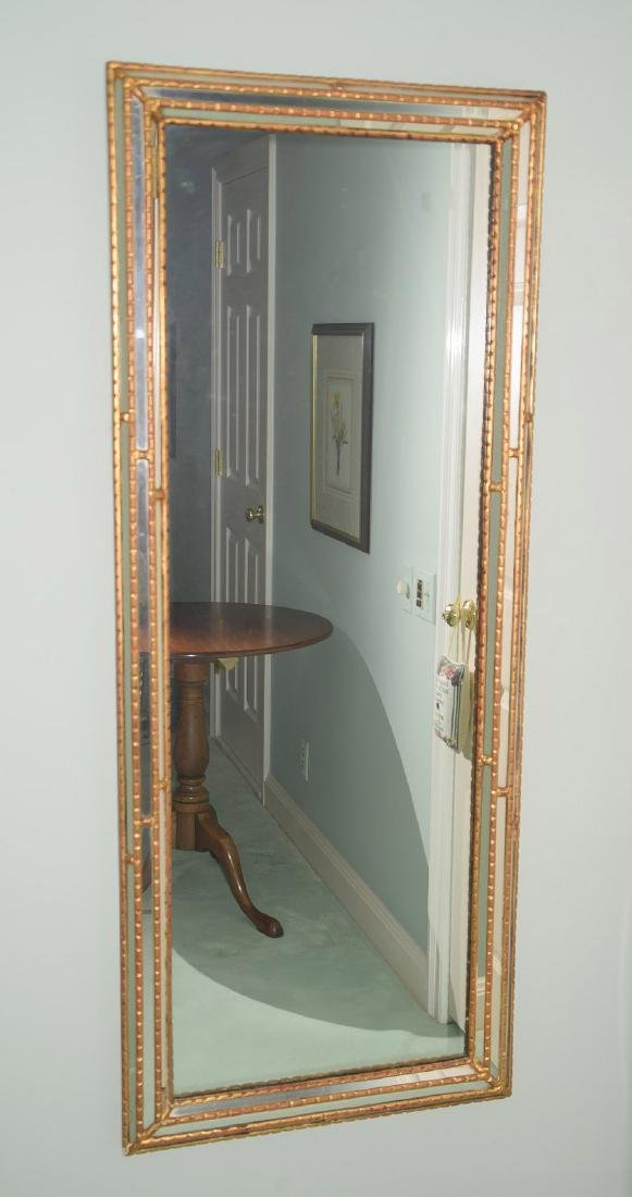 "2 mirrored & burnished gold frame mirrors, 59""h x 23""w"