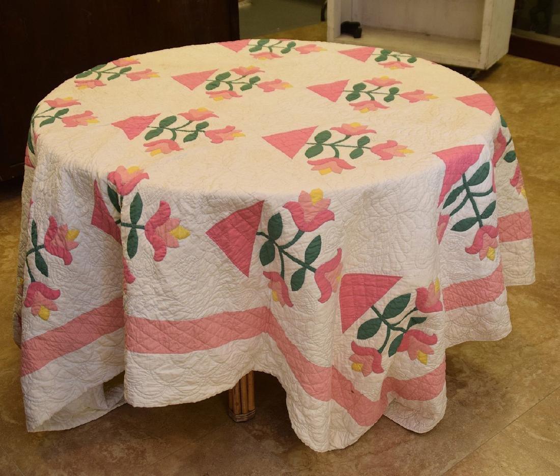 """Quilt, hand stitched, circa 1950's """"Flower Basket"""", 90"""""""
