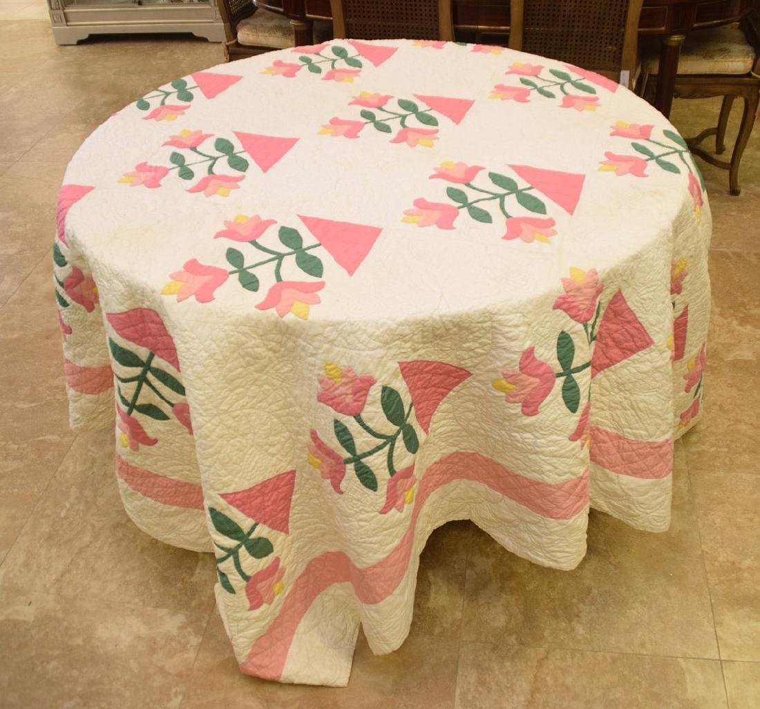"""Quilt, hand stitched, circa 1950's """"Flower Basket"""", 90"""" - 2"""
