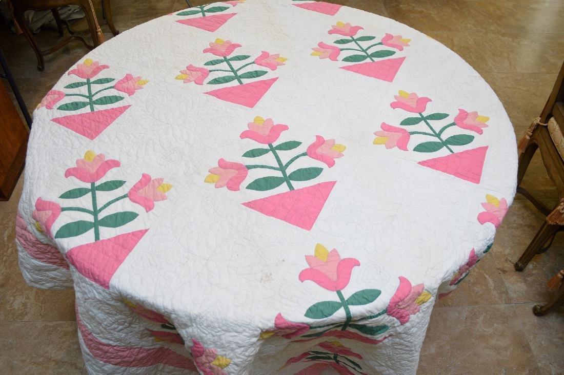 """Quilt, hand stitched, circa 1950's """"Flower Basket"""", 90"""" - 3"""