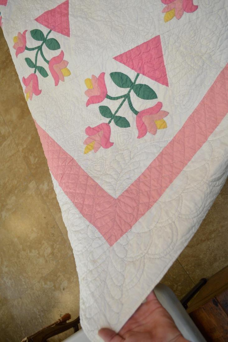 """Quilt, hand stitched, circa 1950's """"Flower Basket"""", 90"""" - 4"""