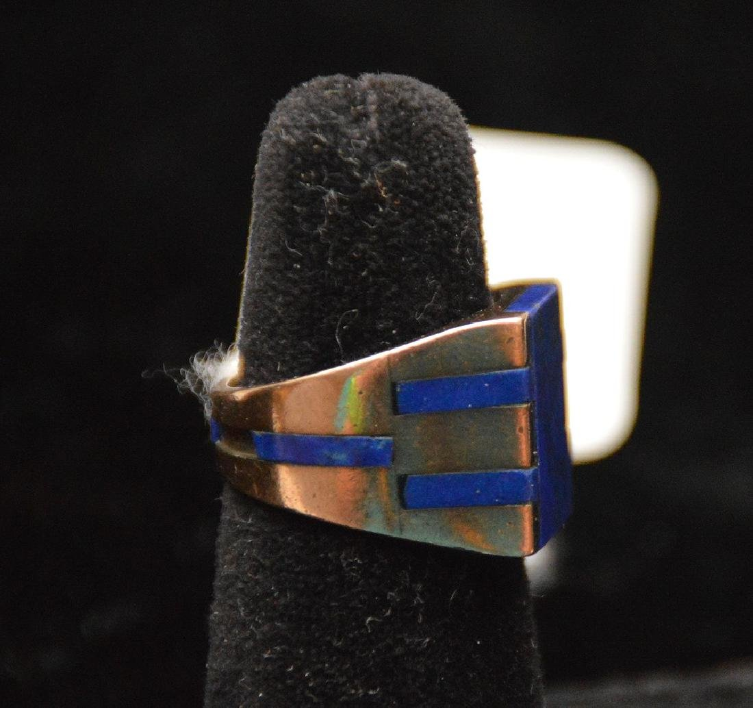 Man's Lapis ring, 14kt yellow gold, couple pieces of - 2