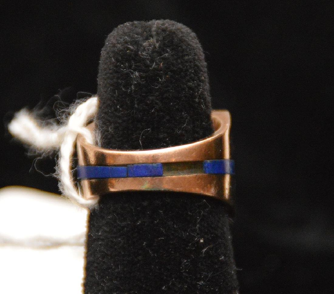 Man's Lapis ring, 14kt yellow gold, couple pieces of - 3