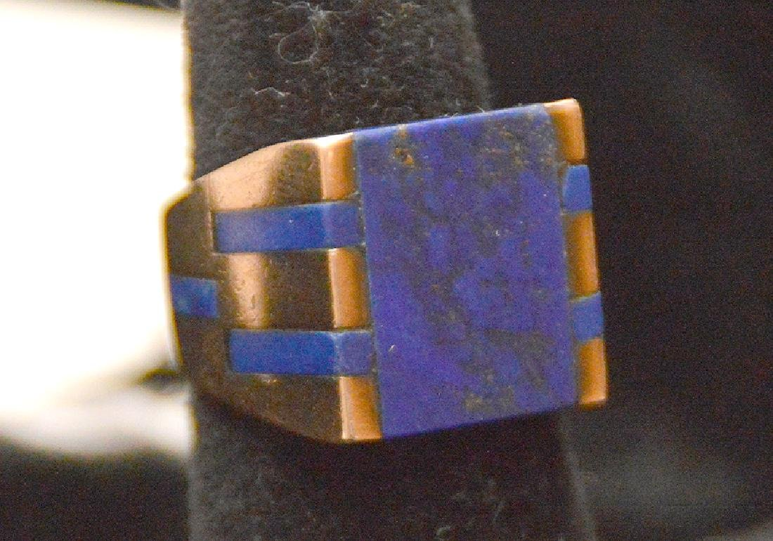 Man's Lapis ring, 14kt yellow gold, couple pieces of - 4