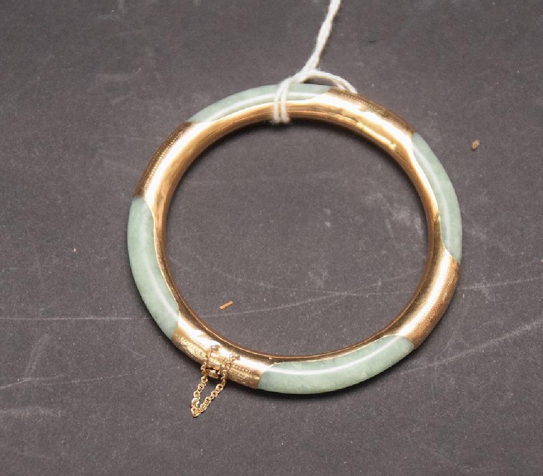 14KT. Gold & Jade Bangle, inside diameter 2-1/4 inches