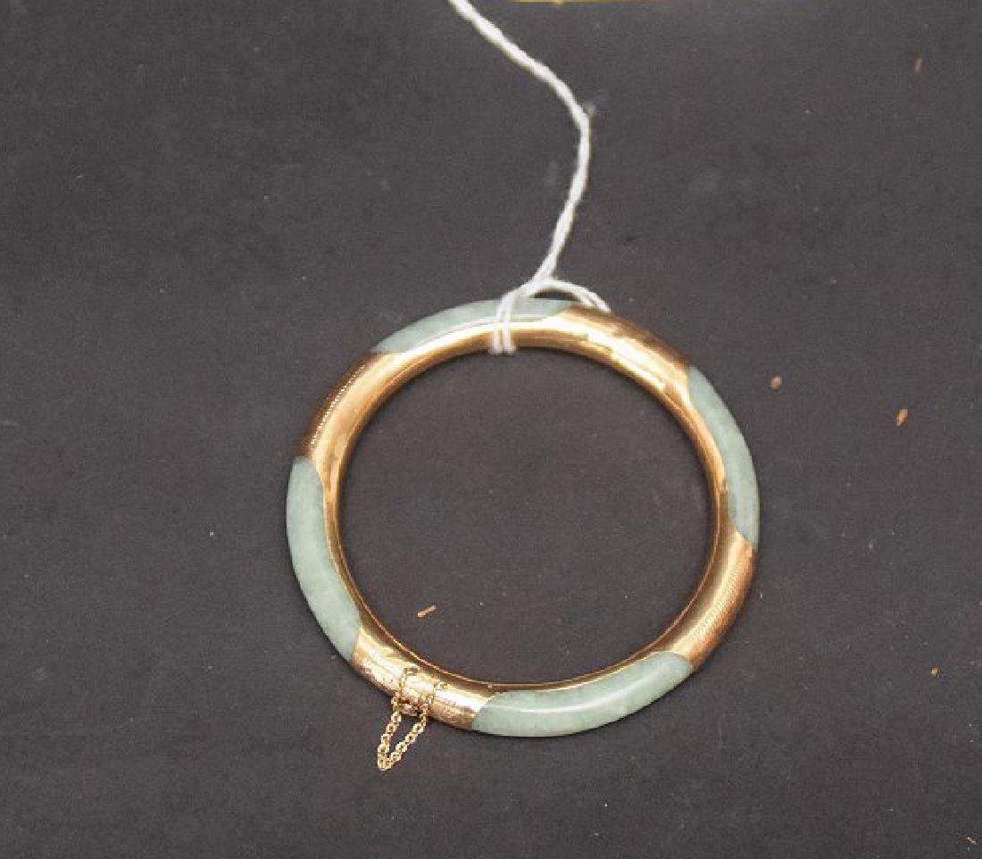 14KT. Gold & Jade Bangle, inside diameter 2-1/4 inches - 2