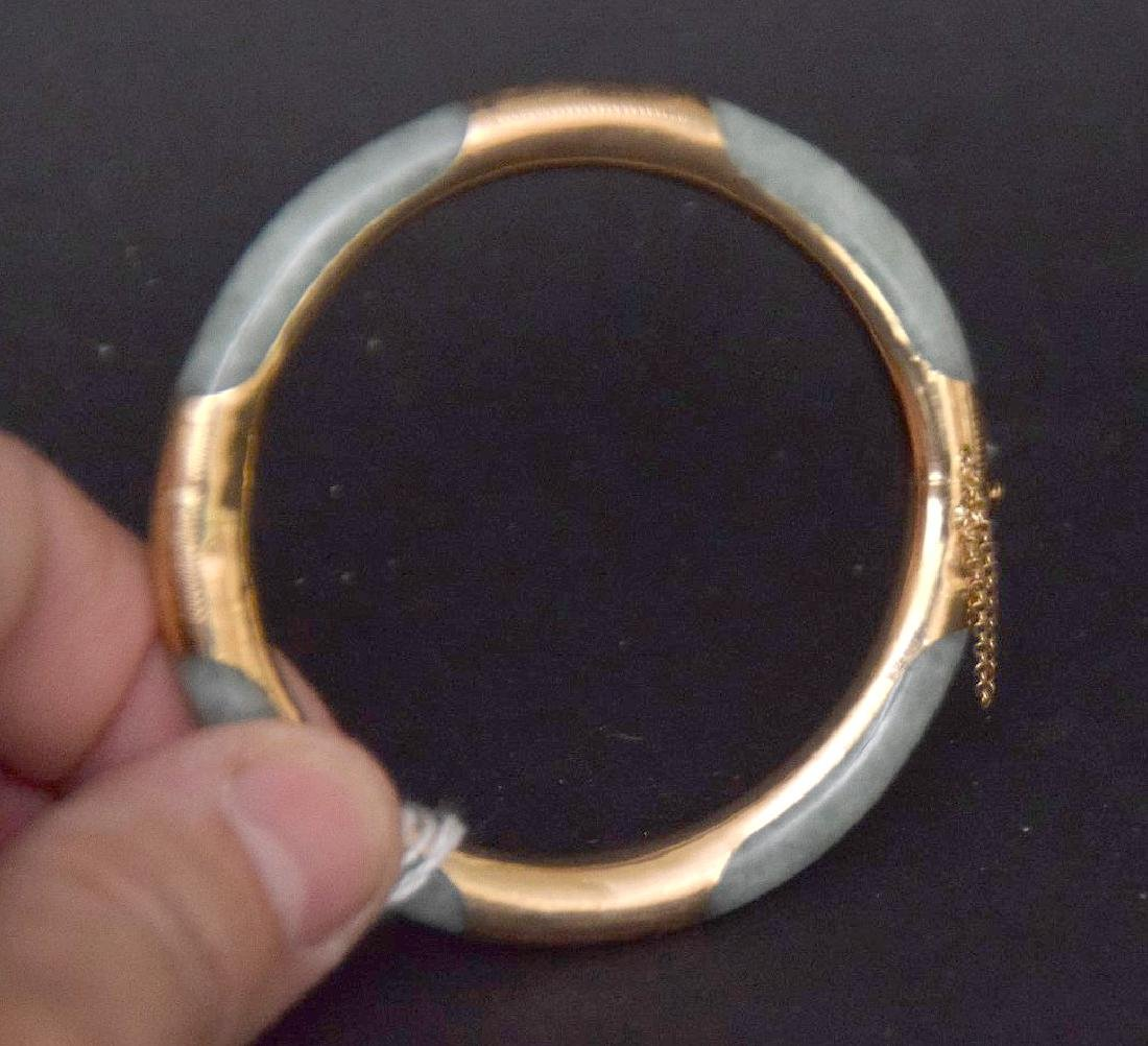 14KT. Gold & Jade Bangle, inside diameter 2-1/4 inches - 4
