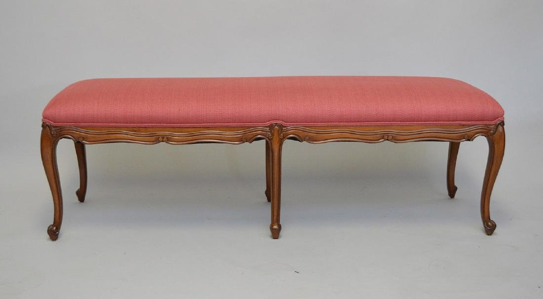"Pair French Provincial upholstered benches, 19""h x 58""w"