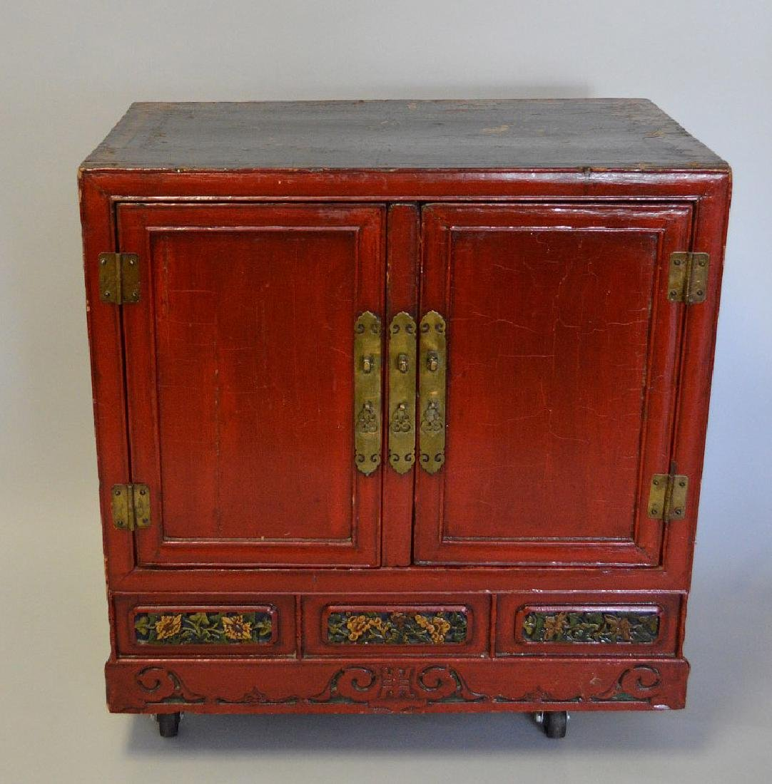 "Red Chinese 2 door cabinet with brass hardware, 40""h x"