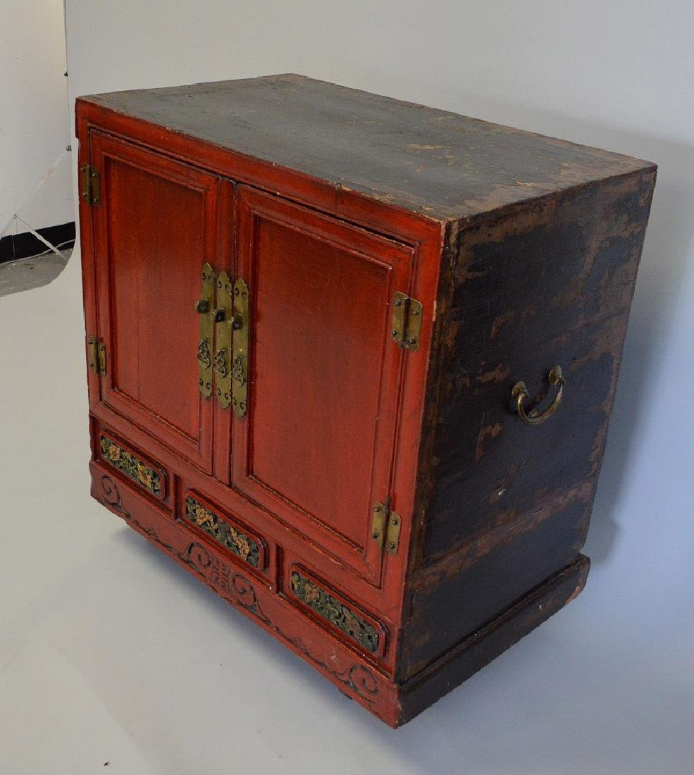 "Red Chinese 2 door cabinet with brass hardware, 40""h x - 2"