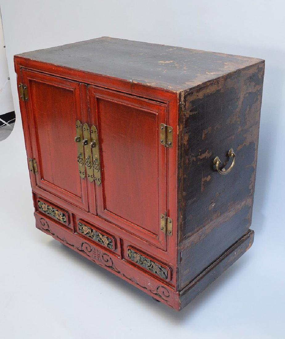 "Red Chinese 2 door cabinet with brass hardware, 40""h x - 3"