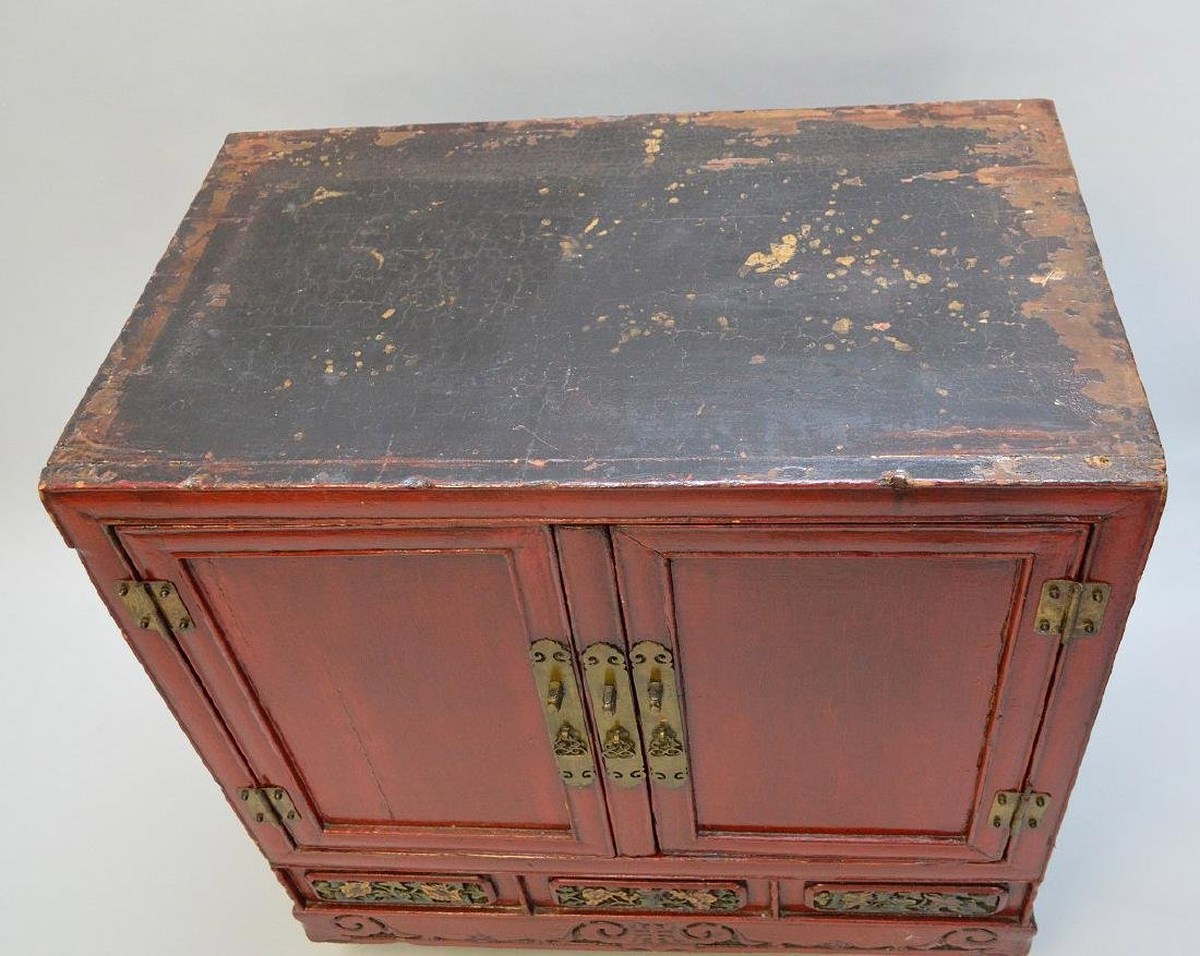 "Red Chinese 2 door cabinet with brass hardware, 40""h x - 5"