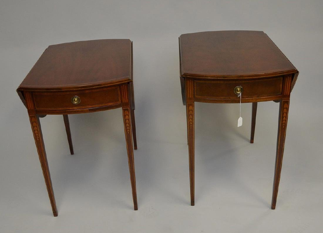 Pair Baker mahogany drop leaf tables with string inlay