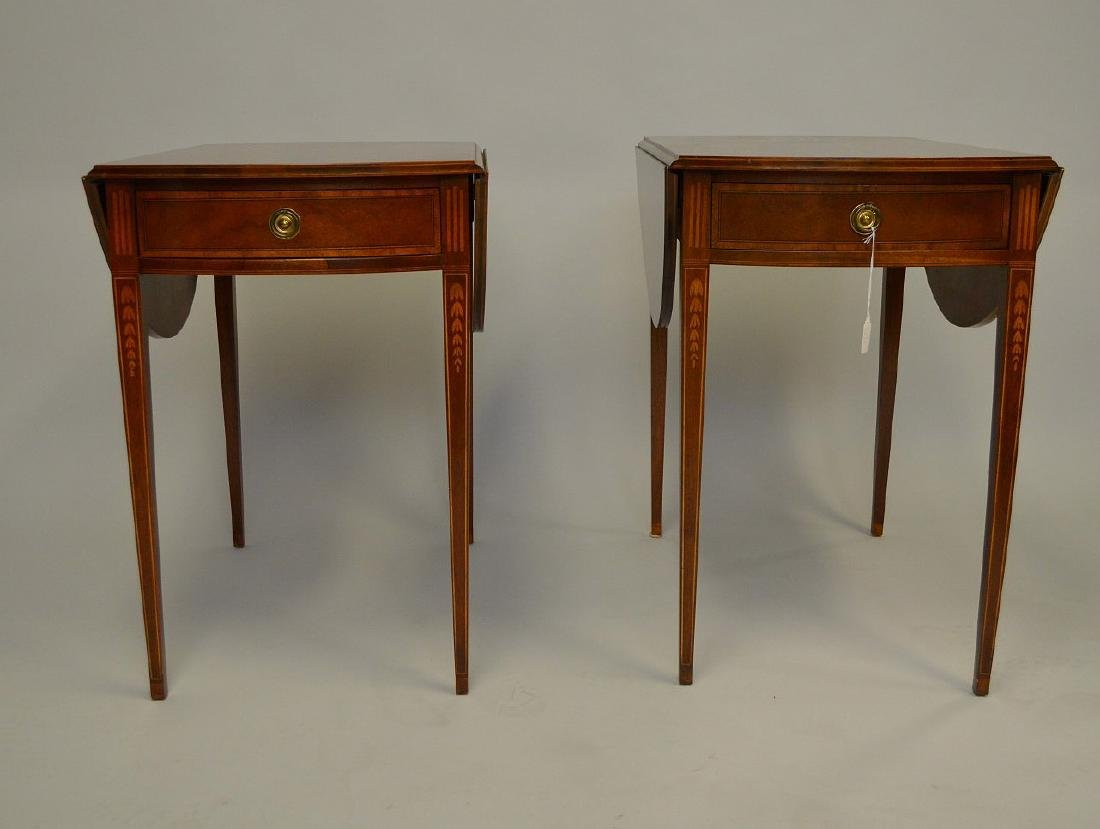 Pair Baker mahogany drop leaf tables with string inlay - 2