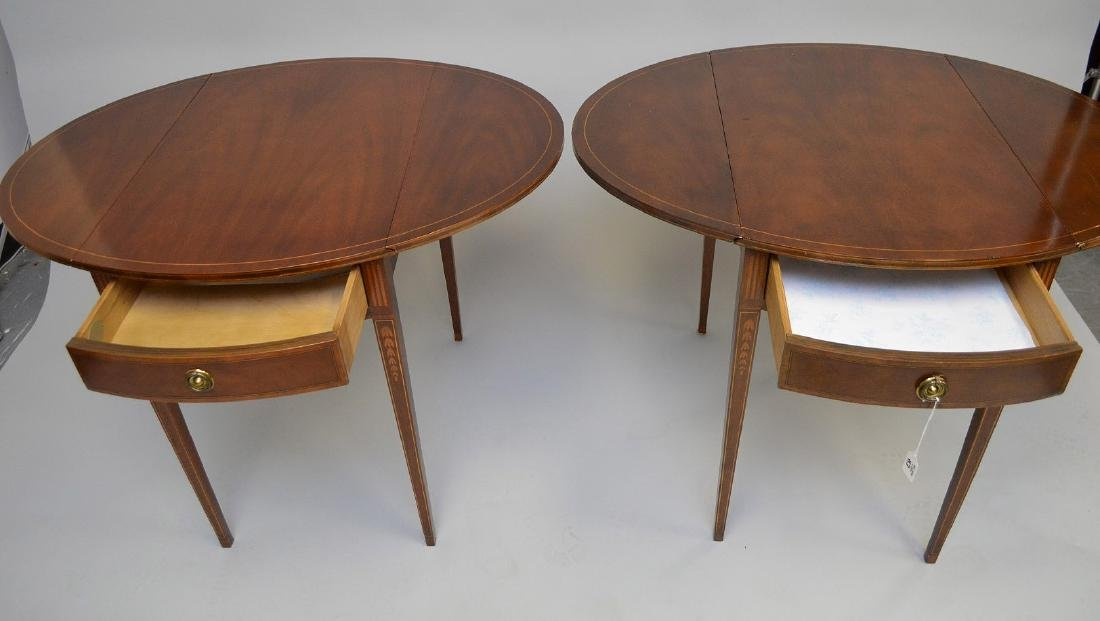 Pair Baker mahogany drop leaf tables with string inlay - 3