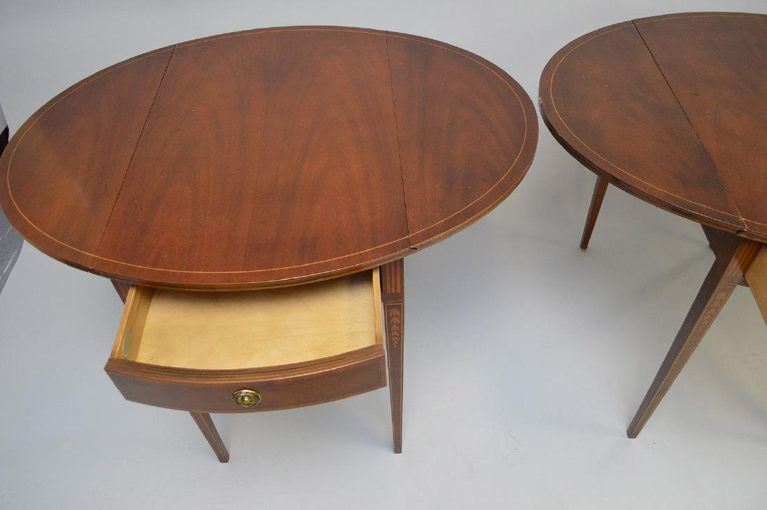 Pair Baker mahogany drop leaf tables with string inlay - 4